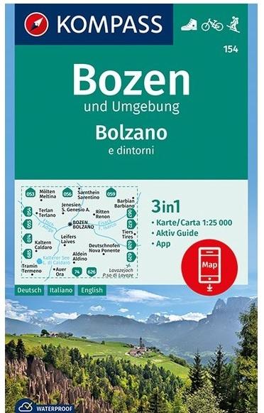 KP-154 Bozen / Bolzano | Kompass wandelkaart 1:25.000 9783990445549  Kompass Wandelkaarten Kompass Italië  Wandelkaarten Zuid-Tirol, Dolomieten