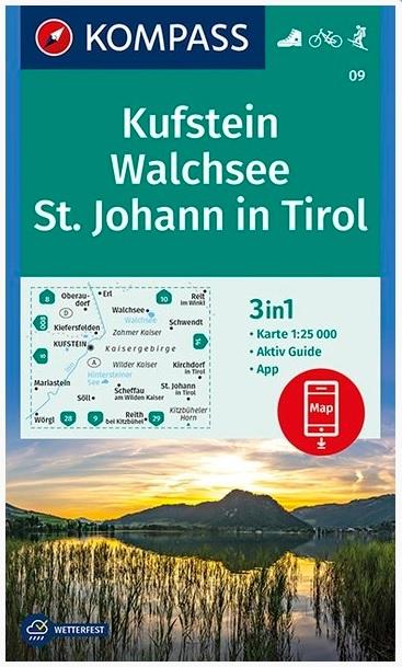 KP-09 Kufstein-Kaisergebirge | Kompass wandelkaart 9783990445679  Kompass Wandelkaarten Kompass Oostenrijk  Wandelkaarten Tirol & Vorarlberg