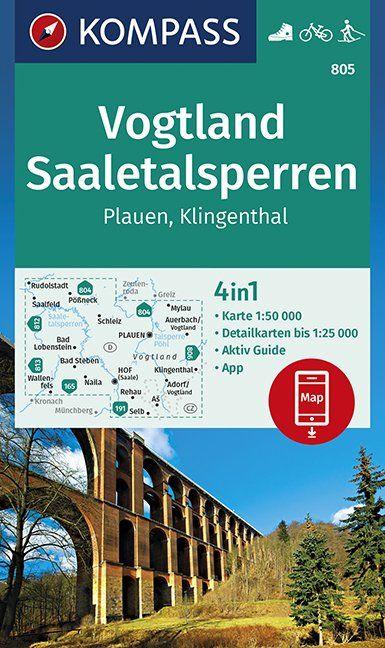 KP-805 Saaletalsperren, Vogtland 1:50.000 | Kompass 9783990446065  Kompass Wandelkaarten Kompass Duitsland  Wandelkaarten Erzgebirge, Elbsandsteingebirge, Lausitz