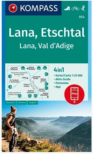 KP-054 Lana, Etschtal | Kompass wandelkaart 1:25.000 9783990446201  Kompass Wandelkaarten Kompass Italië  Wandelkaarten Zuid-Tirol, Dolomieten
