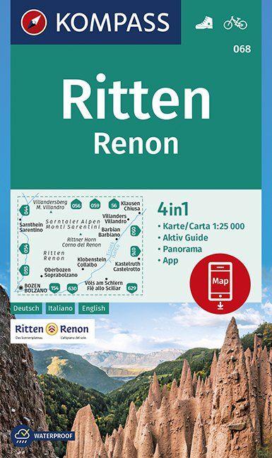 KP-068  Ritten (Renon) 1:25.000 9783990446225  Kompass Wandelkaarten Kompass Italië  Wandelkaarten Zuid-Tirol, Dolomieten