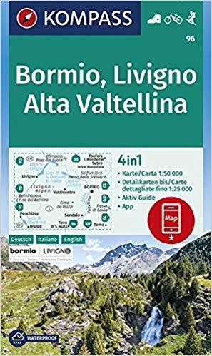KP-96 Bormio, Livigno, Alta Valtellina | Kompass wandelkaart 9783990446294  Kompass Wandelkaarten Kompass Italië  Wandelkaarten Zuid-Tirol, Dolomieten