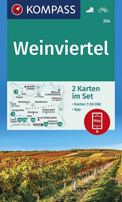 KP-204  Weinviertel | Kompass wandelkaart 9783990446355  Kompass Wandelkaarten Kompass Oostenrijk  Wandelkaarten Wenen, Noord- en Oost-Oostenrijk
