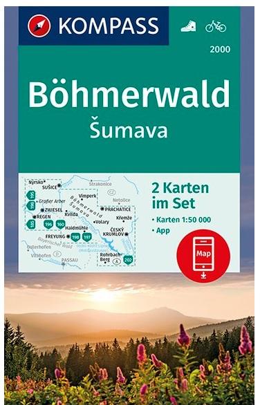 KP-2000 Böhmerwald, Sumava | Kompass wandelkaart 9783990446430  Kompass Wandelkaarten   Wandelkaarten Tsjechië
