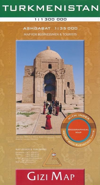 Turkmenistan 1:1.300.000 9786155010132  Gizi Map   Landkaarten en wegenkaarten Centraal-Aziatische republieken (Kazachstan, Uzbekistan, Turkmenistan, Kyrgysztan, Tadjikistan)
