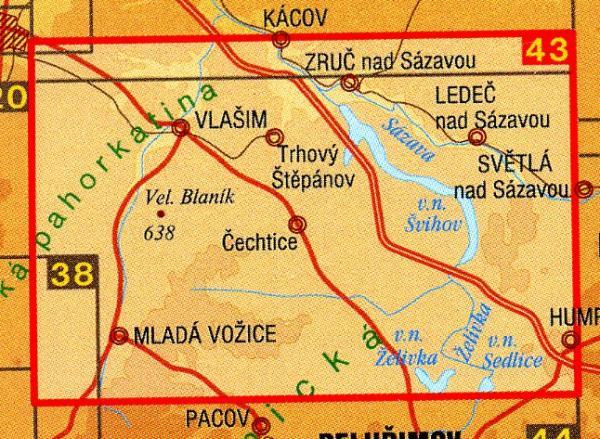 CZ50 43  Podrobná turistická mapa 1:50.000 | wandelkaart 9788072241415  SHOCart Wandelkaarten Tsjechië  Wandelkaarten Tsjechië