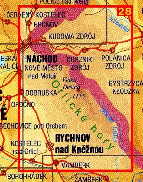 CZ50 28  Orlické hory, Góry Stolowe 1:50.000 | wandelkaart 9788072241705  SHOCart Wandelkaarten Tsjechië  Wandelkaarten Tsjechië