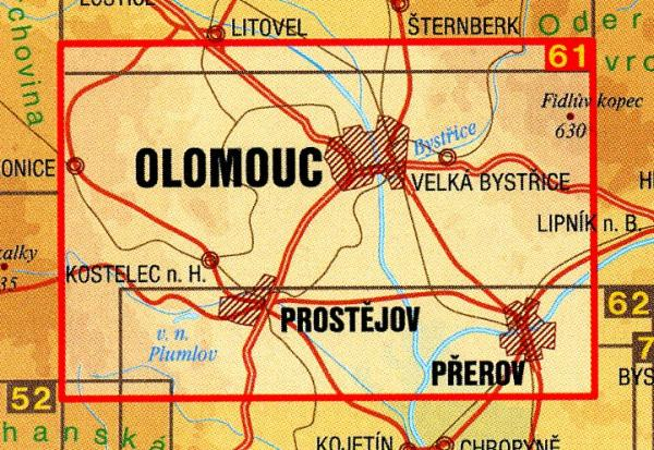CZ50 61  Olomoucko 1:50.000 | wandelkaart 9788072241798  SHOCart Wandelkaarten Tsjechië  Wandelkaarten Tsjechië