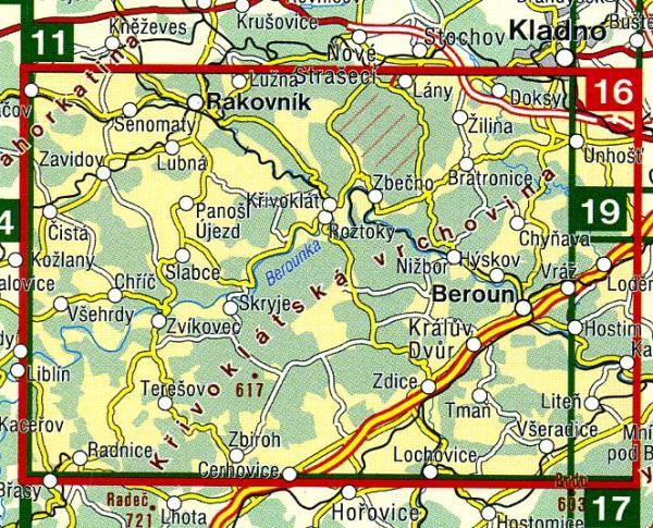 CZ50 16  Krivoklatsko, Rakovnicko, Karlstejn | wandelkaart 9788072242030  SHOCart Wandelkaarten Tsjechië  Wandelkaarten Tsjechië