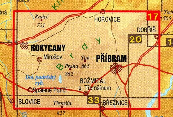 CZ50 17  Brdy, Pribramsko, Rokycansko 1:50.000 | wandelkaart 9788072242047  SHOCart Wandelkaarten Tsjechië  Wandelkaarten Tsjechië