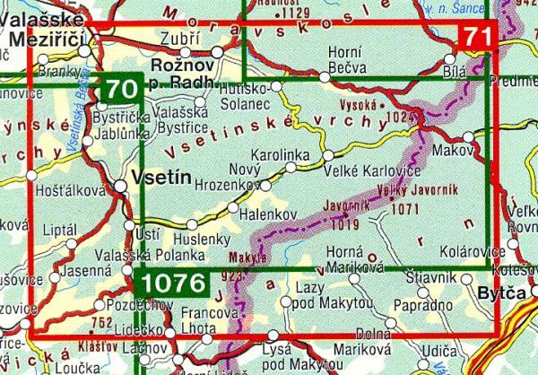 CZ50 71  Beskydy, Javorníky 1:50.000 | wandelkaart 9788072242078  SHOCart Wandelkaarten Tsjechië  Wandelkaarten Tsjechië