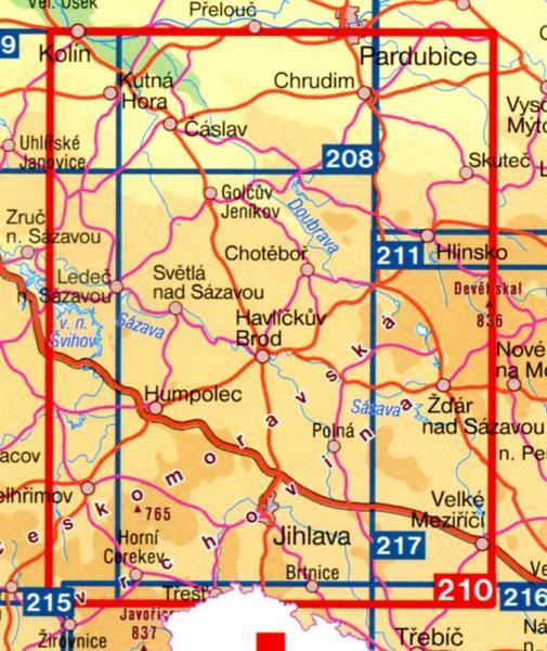 CZ100 210  Ceskomoravska vrchovina 9788072242184  SHOCart Turisticke Mapy 100  Landkaarten en wegenkaarten Tsjechië