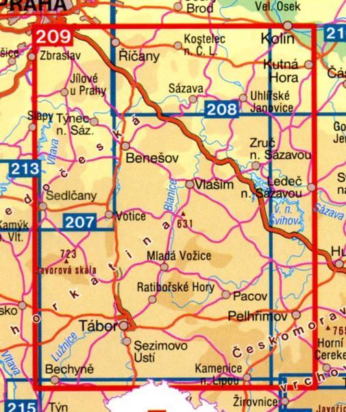 CZ100 209  Okoli Prahy/Posazavi/Taborsko 1:100.000 9788072242740  SHOCart Turisticke Mapy 100  Landkaarten en wegenkaarten Tsjechië