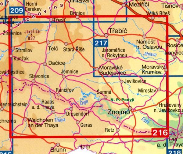 CZ100 216  Telcsko, Podyji 9788072242771  SHOCart Turisticke Mapy 100  Landkaarten en wegenkaarten Tsjechië