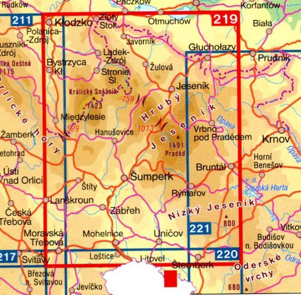 CZ100 219  Jeseniky 9788072242801  SHOCart Turisticke Mapy 100  Landkaarten en wegenkaarten Tsjechië
