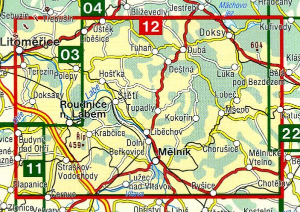 CZ50 12  Melnicko, Kokorinsko, Litomericko | wandelkaart 9788072242870  SHOCart Wandelkaarten Tsjechië  Wandelkaarten Tsjechië