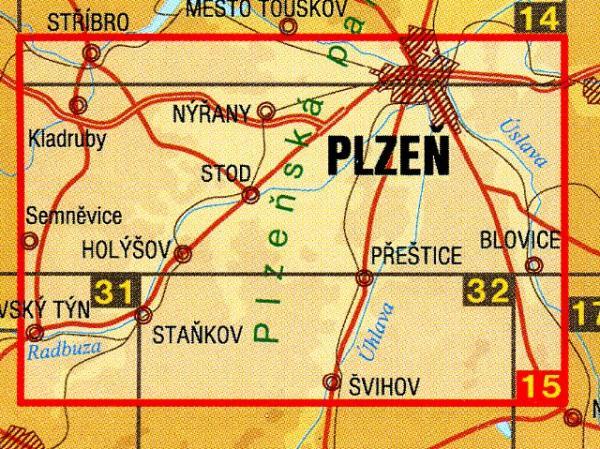 CZ50 15  Plzensko jih 1:50.000 | wandelkaart 9788072242917  SHOCart Wandelkaarten Tsjechië  Wandelkaarten Tsjechië