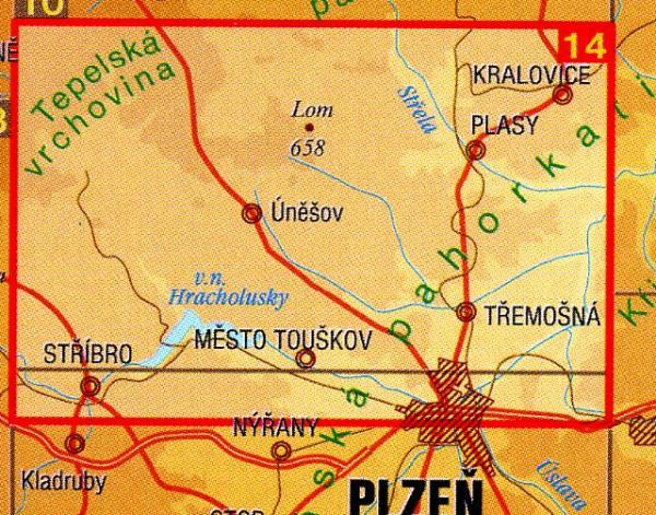 CZ50 14  Plzensko - sever 1:50.000 | wandelkaart 9788072242924  SHOCart Wandelkaarten Tsjechië  Wandelkaarten Tsjechië