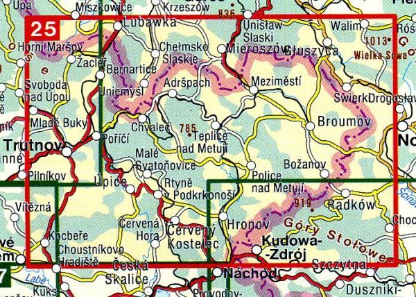 CZ50 25  Broumovsko, Adrspach 1:50.000 | wandelkaart 9788072243327  SHOCart Wandelkaarten Tsjechië  Wandelkaarten Tsjechië
