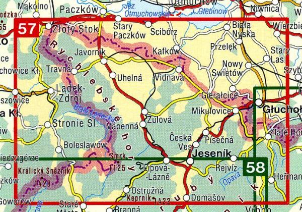 CZ50 57  Jeseníky, Rychlebské hory 1:50.000 | wandelkaart 9788072243402  SHOCart Wandelkaarten Tsjechië  Wandelkaarten Tsjechië