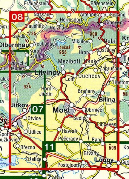 CZ50 08  Krusne hory, Mostecko 1:50.000 | wandelkaart 9788072243525  SHOCart Wandelkaarten Tsjechië  Wandelkaarten Tsjechië