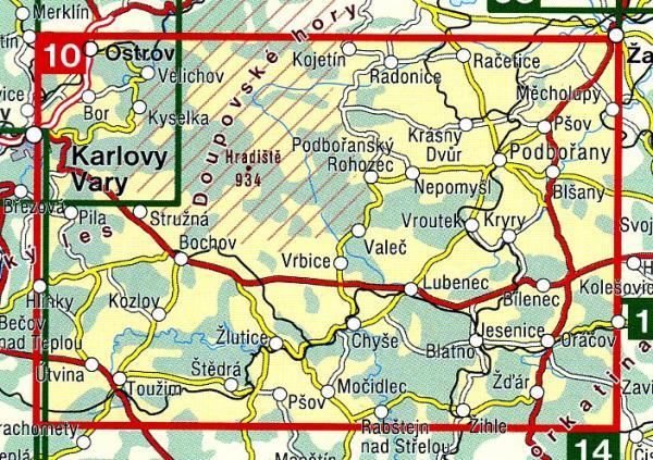 CZ50 10  Doupovske hory, Podboransko | wandelkaart 9788072243532  SHOCart Wandelkaarten Tsjechië  Wandelkaarten Tsjechië