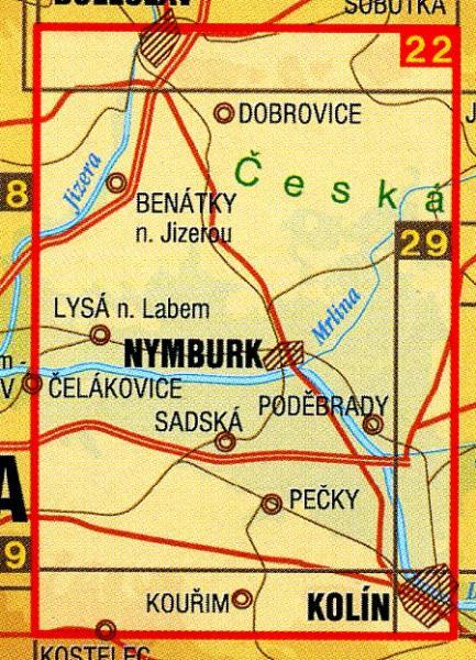 CZ50 22  Nymbursko 1:50.000 | wandelkaart 9788072243563  SHOCart Wandelkaarten Tsjechië  Wandelkaarten Tsjechië
