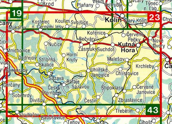 CZ50 23  Stredni Posazavi, Kutna Hora 1:50.000 | wandelkaart 9788072243570  SHOCart Wandelkaarten Tsjechië  Wandelkaarten Tsjechië
