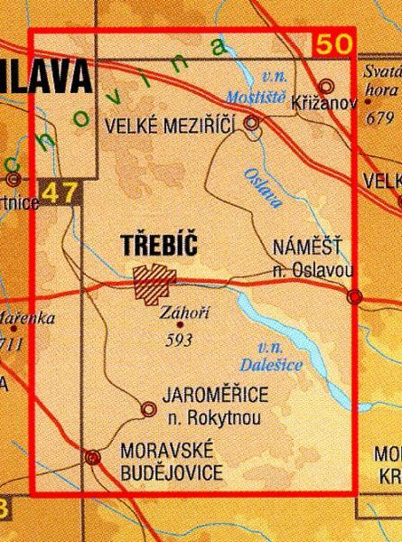 CZ50 50  Trebícsko, Velkomezirícsko 1:50.000   wandelkaart 9788072243655  SHOCart Wandelkaarten Tsjechië  Wandelkaarten Tsjechië