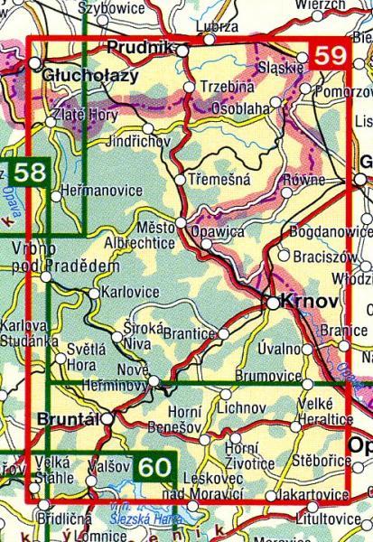 CZ50 59  Bruntálsko, Krnovsko, Osoblažsko | wandelkaart 9788072243686  SHOCart Wandelkaarten Tsjechië  Wandelkaarten Tsjechië