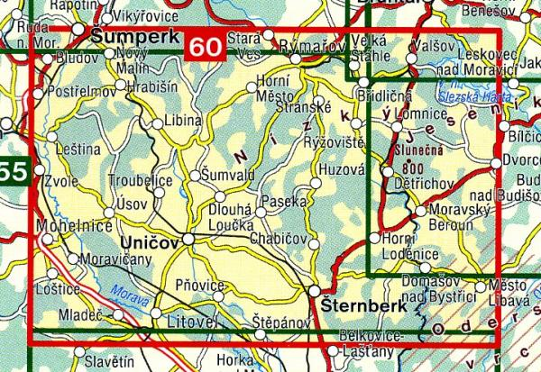 CZ50 60  Horní Pomoraví, Nízký Jeseník | wandelkaart 9788072243693  SHOCart Wandelkaarten Tsjechië  Wandelkaarten Tsjechië