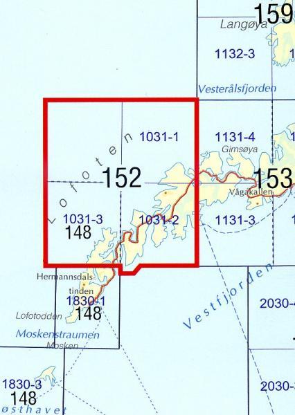 SKN-152  Lofoten 1:50.000 9788279454090  Statens Kartverk Norge 1:50.000  Wandelkaarten Noorwegen boven de Sognefjord