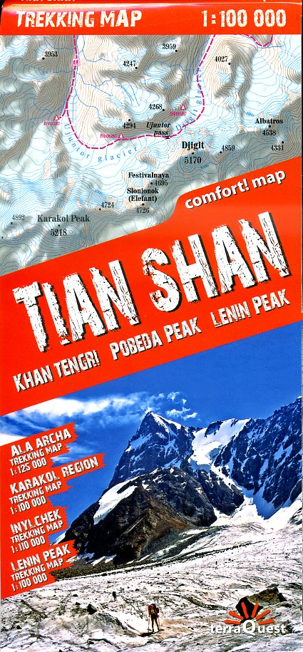 Tian Shan 1:100.000 (Tienshan, Tien Shan) 9788361155393  TerraQuest   Wandelkaarten Centraal-Aziatische republieken (Kazachstan, Uzbekistan, Turkmenistan, Kyrgysztan, Tadjikistan)