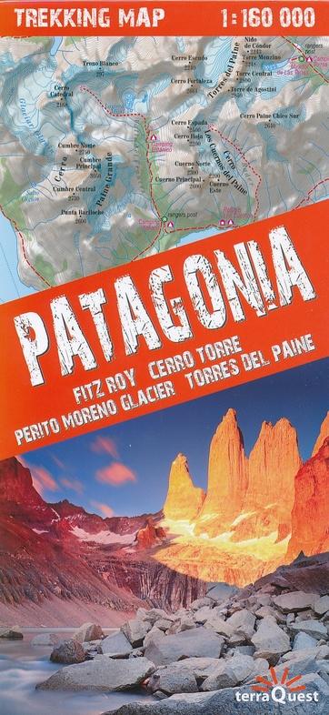 Patagonia trekking map | overzichtskaart / wandelkaart 1:160.000 9788361155621  TerraQuest   Wandelkaarten Patagonië