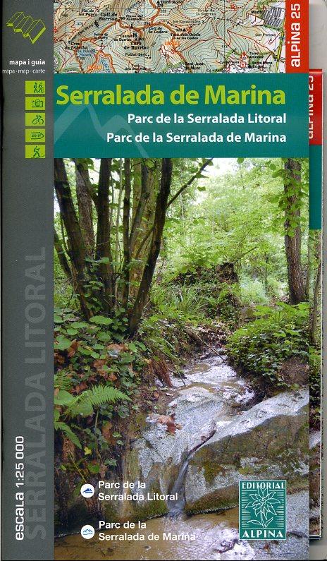 Serralada de Marina 1:25.000 9788480905183  Editorial Alpina Wandelkaarten Spanje  Wandelkaarten Catalonië, Barcelona