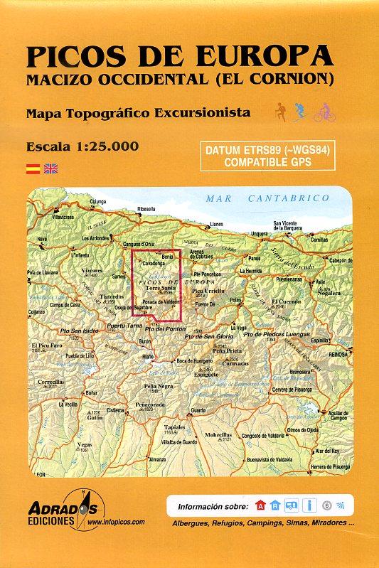 Picos de Europa 1:25.000 West (Macizo Occidental) wandelkaart 9788493317799  Adrados, M.A. Wandelkaarten Spanje  Wandelkaarten Picos de Europa