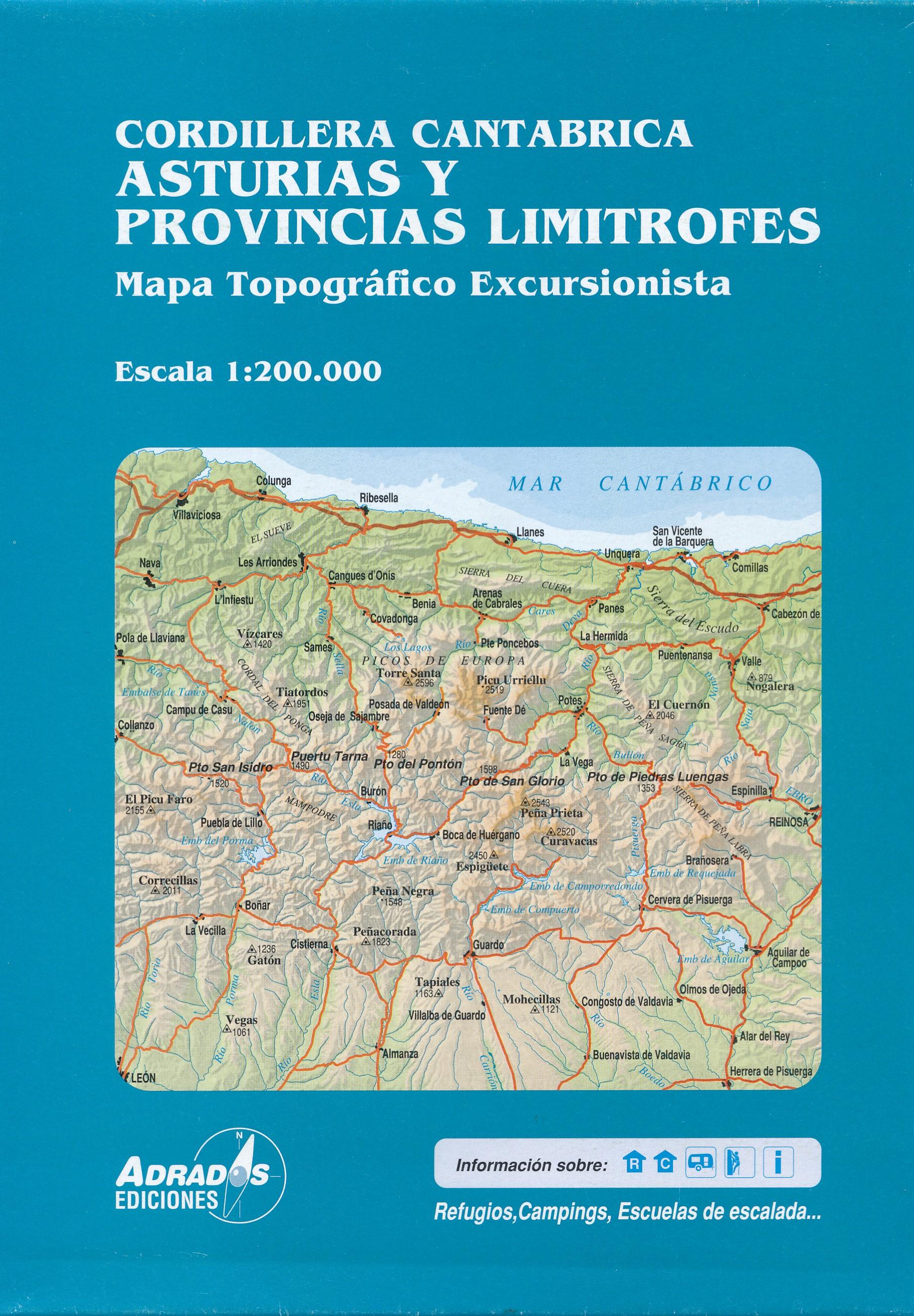 Cordillera Cantabrica 1:200.000 9788494080739  Adrados   Landkaarten en wegenkaarten Noordwest-Spanje, Compostela, Picos de Europa