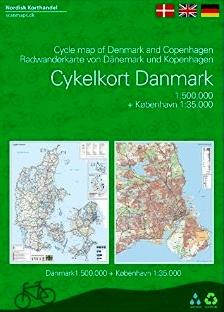 Cykelferiekort 1:510.000 | fietskaart/overzichtskaart Denemarken 9788779671157  Dansk Cyklist Forbund fietskaarten Denemarken  Fietskaarten Denemarken