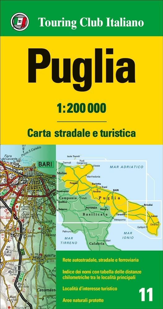 TCI-11  Puglia 1:200.000 9788836570935  TCI Italië Wegenkaarten  Landkaarten en wegenkaarten Apulië