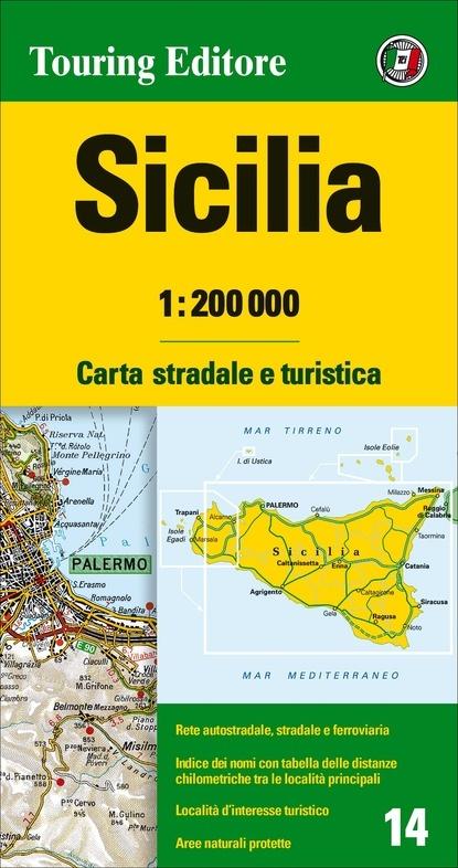 TCI-14  Sicilia 1:200.000 9788836570942  TCI Italië Wegenkaarten  Landkaarten en wegenkaarten Sicilië