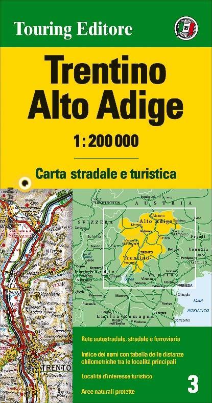 TCI-03  Trentino / Südtirol   1:200.000 9788836570959  TCI Italië Wegenkaarten  Landkaarten en wegenkaarten Zuid-Tirol, Dolomieten