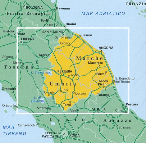 TCI-08  Umbria / Marche (Umbrië / De Marken) 1:200.000 9788836573455  TCI Italië Wegenkaarten  Landkaarten en wegenkaarten Umbrië
