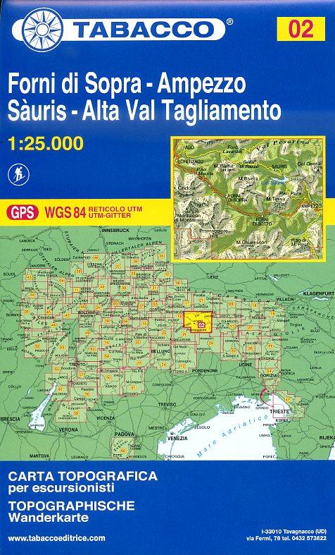 TAB-002   Forni di Sopra - Ampezzo | Tabacco wandelkaart TAB-02 9788883150029  Tabacco Tabacco 1:25.000  Wandelkaarten Venetië, Veneto, Friuli