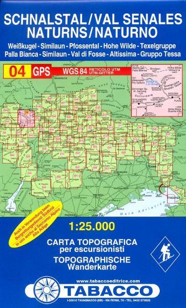 TAB-04  Val Senales | Tabacco wandelkaart 9788883150043  Tabacco Tabacco 1:25.000  Wandelkaarten Zuid-Tirol, Dolomieten