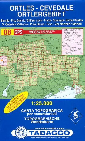 TAB-08  Gruppo Ortles - Cevedale/ Ortlergruppe | Tabacco wandelkaart 9788883150081  Tabacco Tabacco 1:25.000  Wandelkaarten Zuid-Tirol, Dolomieten