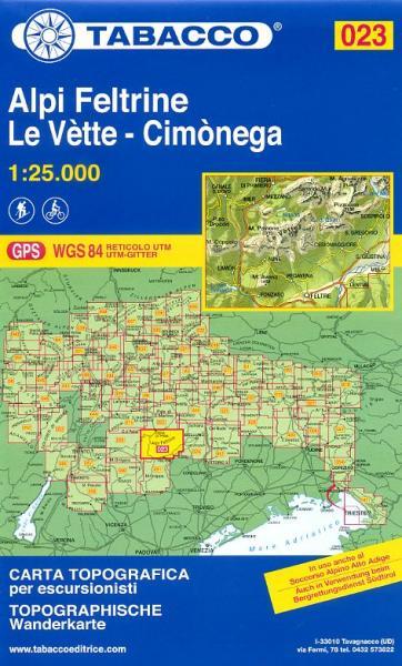 TAB-023  Alpi Feltrine, Cimonega, Le Vette | Tabacco wandelkaart 9788883150234  Tabacco Tabacco 1:25.000  Wandelkaarten Zuid-Tirol, Dolomieten