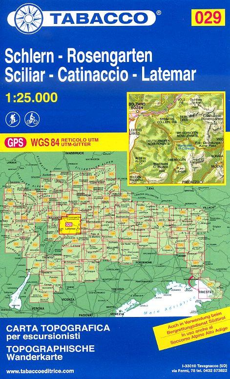 TAB-029  Schlern/ Rosengarten/ Latemar | Tabacco wandelkaart 9788883150296  Tabacco Tabacco 1:25.000  Wandelkaarten Zuid-Tirol, Dolomieten