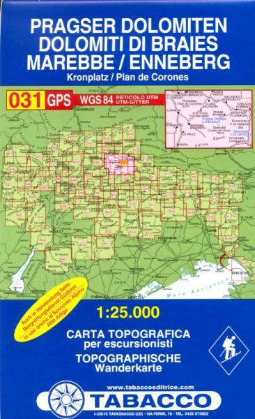 TAB-031 Dolimiti di Braies | Tabacco wandelkaart 9788883150319  Tabacco Tabacco 1:25.000  Wandelkaarten Zuid-Tirol, Dolomieten