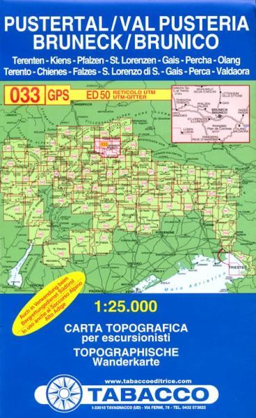 TAB-033 Brunico/Bruneck Pustertal | Tabacco wandelkaart 9788883150333  Tabacco Tabacco 1:25.000  Wandelkaarten Zuid-Tirol, Dolomieten