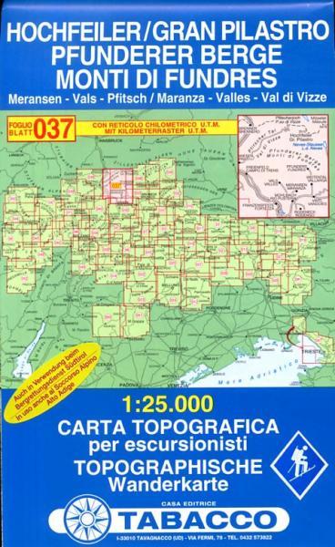 TAB-037  Gran Pilastro, Monti di Fundres | Tabacco wandelkaart 9788883150371  Tabacco Tabacco 1:25.000  Wandelkaarten Zuid-Tirol, Dolomieten